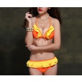 Flounced 2pcs bikini swimsuit