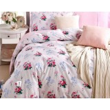 Flowers light color cotton satin 4pcs bedding sheet set