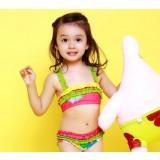 Folds little girl triangular bikini swimwear