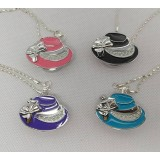 Girl hat necklace watch