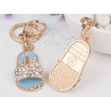 Gold plated Rhinestones slippers keychain