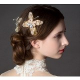 Golden bowknot bridal hair accessories