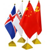 Golden plastic national flag desk holder + national flag