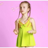 Green bow one-piece swimwear for little girls