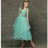 Green flowers bridesmaid dress