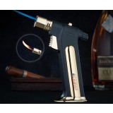 Gun shaped dual flames windproof lighter
