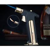 Gun shaped dual flames windproof lighter