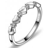Heart to Heart Sterling silver zircon women's ring