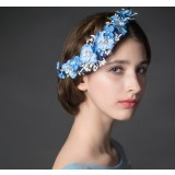 Honeymoon bride blue flowers hair accessories