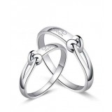 Hug Platinum plated couples sterling silver ring