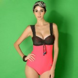Lacing double color sexy one-piece swimwear