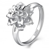 Ladies peony flowers sterling silver ring