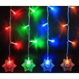 Large snowflake icicle LED holiday lights