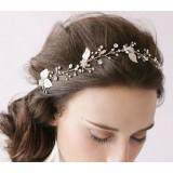 leaves + rhinestone bridal headwear