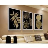 Leaves three-panels oil painting