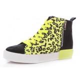leopard grain mixed colors high cut shoes