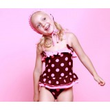Little girl dots one-piece swimwear