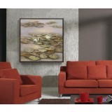 Lotus leaves square oil painting