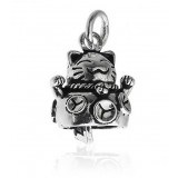 Lovely plutus cat small bell pendant