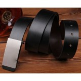 Male smooth leather belt buckle Leather belt for men