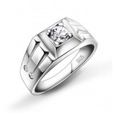 Men's silver crystal ring
