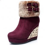 New winter thickening plush wedge boots