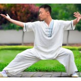 No collar short-sleeved Tai Chi clothing