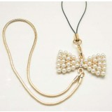 Pearl bow Cell phone lanyard