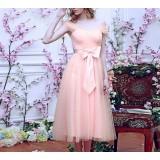 Pink big bow bridesmaid dress