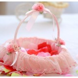 Pink lace flower girl baskets