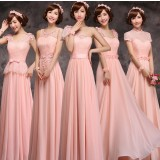Pink long style bridesmaid dresses
