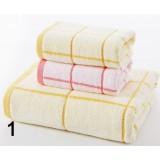 Plaid cotton bath towel + 2pcs towels
