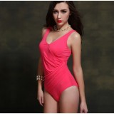 Plus size solid color one-piece swimwear