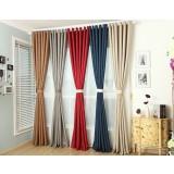 Pure color minimalist linen curtains