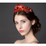 Red Crystal Crown Hair Accessories