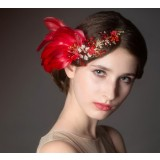 Red feather bridal hair accessories