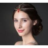 Red rhinestones bridal headwear
