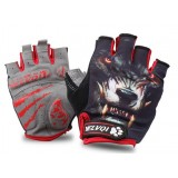 Red Wolf half finger cycling gloves