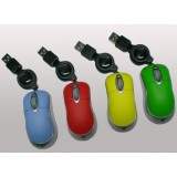 Retractable Cable USB Mini Wired Mouse