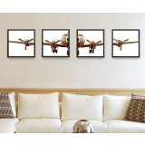 Retro aircraft four panels oil painting