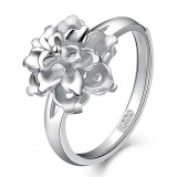 Romantic peony sterling silver women's ring