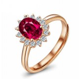 Rose gold plated silver red crystal ring