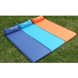 Self-inflating can be spliced camping mat with pillow