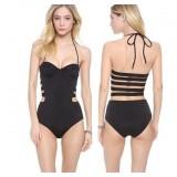 Sexy black hollow straps one-piece swimwear