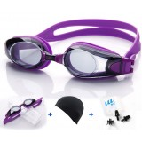 Silicone + PC antifogging swimming goggles
