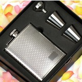 Small checkered 8oz stainless steel hip flask