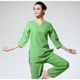 Small V-neck cotton and linen yoga clothing suit