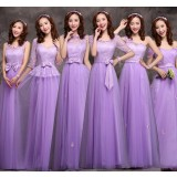 Spring and summer purple lace bridesmaid dress