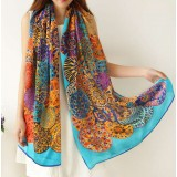 Spring&summer 100% mulberry silk Color peacock female silk scarf
