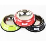 stainless steel skid pet food bowl